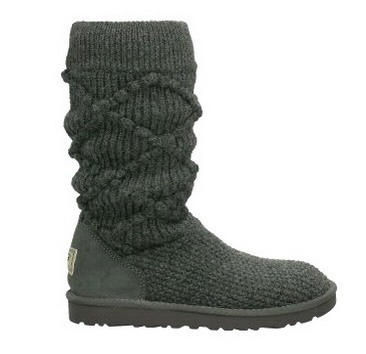 Classic Argyle Knit Charcoal Boots 5879