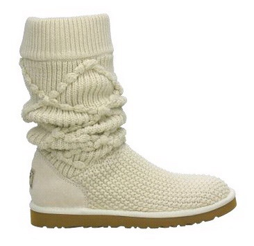 Classic Argyle Knit Cream Boots 5879